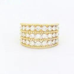 Broad Diamond Ring in 14K Yellow Gold