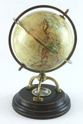 Antique Finish Brass Stand World Globe