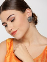 Antique Oxidised Silver-Toned Floral Pattern Round Shaped Drop Earrings
