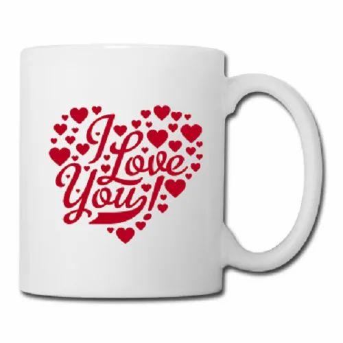 White Ceramic Lovable Coffee Mug, Packaging Type: Box