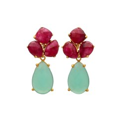 Aqua Chalcedony & Dyed Ruby Gemstone Gold Plated Earring