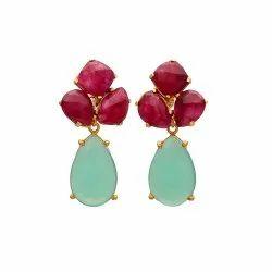 Aqua Chalcedony & Dyed Ruby Gemstone Gold Plated Earring