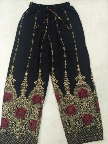 Cotton Ladies Black Gold Print Palazzo Pants 958317968