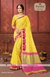 Embroidery Were Pink Rose Cotton Embroidered Sarees