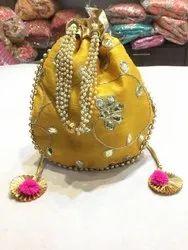 Yellow Party Wear Potli Bag