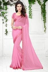 Georgette Fashion Arrival  Stone Work  Baby Pink Saree