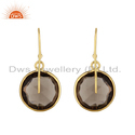 Smoky Quartz Round Shape Gold Plated 925 Silver Earrings Supplier