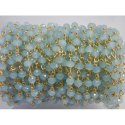 Nanplanetsilver Sterling Silver Aqua Chalcedony Rosary Beaded Chain
