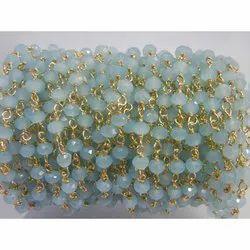 Aqua Chalcedony Rosary Beaded Chain