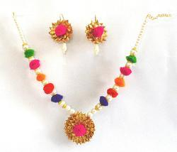 Multicolor Gota Patti Jewelry Set With Earrings