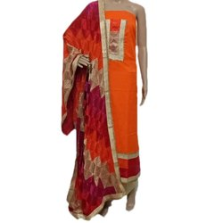 Unstitched Cotton Ladies Party Wear Phulkari Suit