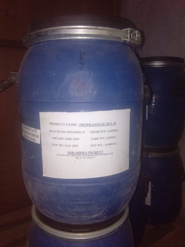 Powder Propranolol Hydrochloride IP, Packaging Size: 10 Kgs, Packaging Type: Drum Packing