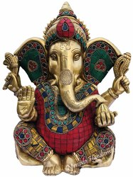 Brass Ganesha Statue Stone Work Hindu God Idol Figurine