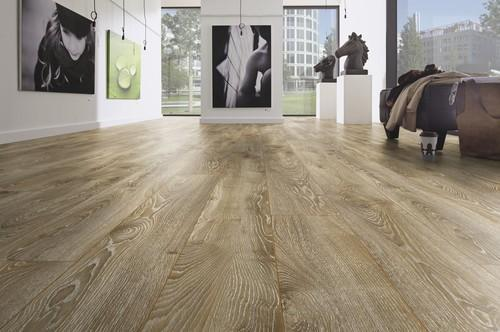 Light Brown Fiberboard Synchronized Laminate Flooring
