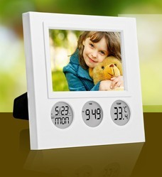 White Plastic digital table Clock With Photoframes, Shape: Square, Packaging Type: Box