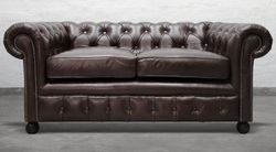 Two Seater Chesterfield Leather Sofa, Leather Furniture