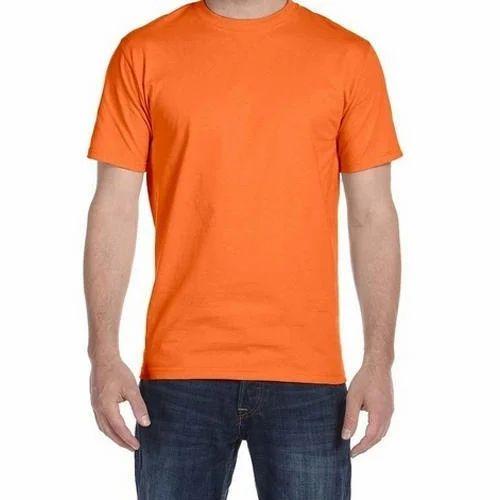 1b8b4214ba8c2 Mens Half Sleeve Plain Round Neck Orange T-Shirt
