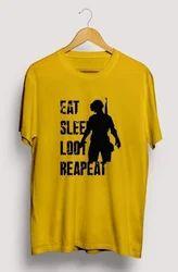Mens Round Neck T Shirt PubG Eat Sleep Loot