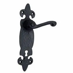 Azor Black Iron Door Handle with Plate