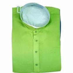 36-44 Inches Stand Collar Men Plain Green Kurta