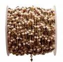 Multi Tourmaline With Pearl Gemstone Beaded Chain, Size: 3-4mm