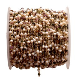 Multi Tourmaline with Pearl Gemstone Beaded Chain