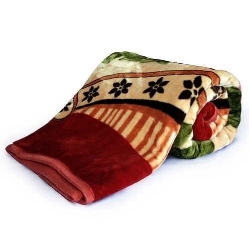 IRIS Floral Print Double Bed Mink Blanket