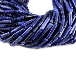 Natural Sodalite Stone Tube Plain Gemstone Beads