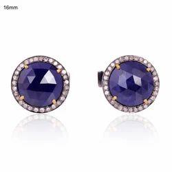 Lapis Lazuli & White Topazio Hot Combination Mens Shirt Cufflinks