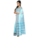 Sky Blue Fancy Tant Bengali Handloom Saree