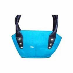 PU Leather Blue Handbag