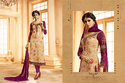Brasso & Georgette Cream Color Semi-stitched Salwar Suit