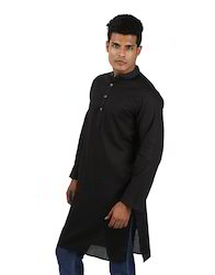 House Of Genera Solid Self Weaved Black Cotton Ethnic Boho Men's Kurta