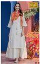 Casual Wear 3/4th Sleeve Cream Cotton Anarkali Kurti, Wash Care: Dry Clean