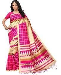 Pink Checks Print Sarees with Blouse Piece, Length: 5.2 m