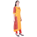 Lavanya Cotton Yellow Katha Printed Kurti