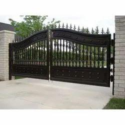 Black Polished Designer Mild Steel Double Door, For Home