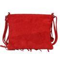 Red Fringed Leather Ladies Handbag