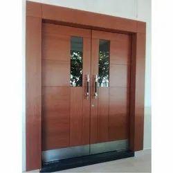 Exterior Teak Wood Wooden Front Door, Size: 7 Feet (height), for Home