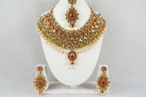 Indian Bridal Necklace Set Wedding Jewelry Red Yellow Cz at Rs
