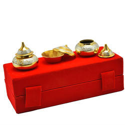 Silver And Gold Plated Kumkum Set