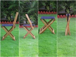 Brown Square Wooden Folding Chair