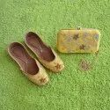 Yellow Bridal Kussa Jutti With Matching Clutches