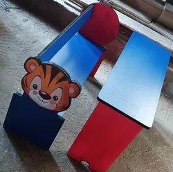 Kids wooden Cartoon Bench and Desk