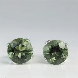 Moldavite Gemstone 6mm Sterling Silver Round Stud Earring Jewelry