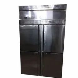 Stainless Steel Silver Four Door Vertical Refrigerator, For Commercial, Electricity