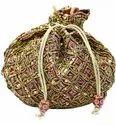 Moti Sequin Work Dupion Silk Potli Bag