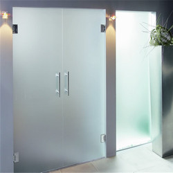 Fortune Plain Frameless Glass Hinged Double Door, For Office