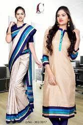 Beige with Blue Border Tripura Cotton Uniform Saree Kurti Combo
