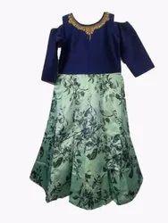 Floral Printed Cold Shoulder Dress For Girls